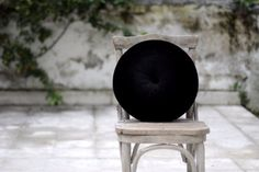 Black velvet round pillow 16 by FULYAK on Etsy