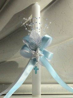 Baptism Christening Gown Baby Boy Cross Candle by Baby Boy Baptism, Boy Christening, Baptism Party, Baptism Ideas, Boy Baptism Centerpieces, Baptism Candle, Wedding Unity Candles, Boy Decor, Baby Boy Gifts