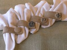 Set of 4-Burlap Napkin Rings with Custom Buttons, Initiales, Fleur de Lis via Etsy