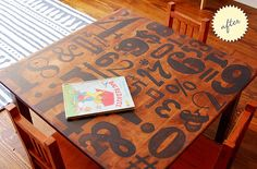 Typography Table - I might have to do this to our PBK table - it's not looking brand new (or even close) anymore so I wouldn't mind painting it.