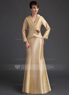 Mother of the Bride Dresses - $157.99 - Mermaid V-neck Floor-Length Taffeta Mother of the Bride Dress With Ruffle Flower(s) (008006538) http://jjshouse.com/Mermaid-V-Neck-Floor-Length-Taffeta-Mother-Of-The-Bride-Dress-With-Ruffle-Flower-S-008006538-g6538?pos=your_recent_history_4