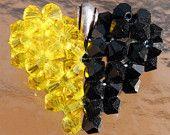 Half Yellow Half Black Swarovski Crystal Puffed Heart