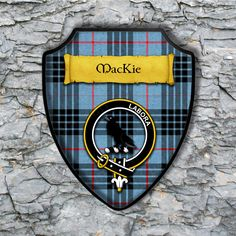 MacKie Shield Plaque with Scottish Clan Coat of Arms Badge on Clan Plaid Tartan Background Wall Art by YourCustomStuff on Etsy https://www.etsy.com/listing/552115948/mackie-shield-plaque-with-scottish-clan
