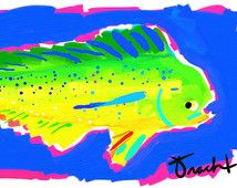 Art Print 11x14 Dolphin Fish Mahi Mahi by artist Kelly Tracht, Art Poster Lilly Pulitzer Style Painting Palm Beach Regency