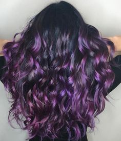 Black Hair 40 Versatile Ideas of Purple Highlights for Blonde, Brown and Red Hair Black Hair With Purple Balayage Purple Hair Highlights, Purple Balayage, Hair Color Purple, Cool Hair Color, Balayage Hair, Purple Black Hair, Hair Colors, Dark Purple, Curly Purple Hair
