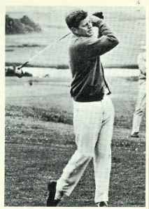 President Kennedy enjoys a relaxing game of golf at the Hyannis Port Golf Club in Massachusetts.    #15 in a series of 77 John F. Kennedy cards.