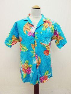 Vintage 90s Hawaiian Loud Fruit Cocktail Pattern Shirt XL