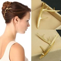 AIWGX Simple Women Hairpins Gold Plated Metal Antlers Clips for Hair Jewelry