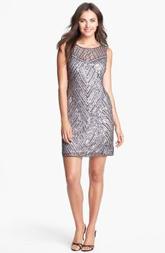 similar to blake lievely's long gown with shaping in sequins. Pisarro Nights Embellished Mesh Cocktail Dress available at Great Gatsby Fashion, Holiday Fashion, Mesh Dress, Sequin Dress, Grey Bridesmaid Dresses, Bridesmaids, New Years Eve Dresses, Date Night Dresses, Scoop Neck Dress