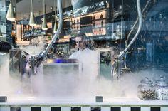 #Interior of #Heston's new restaurant at #Heathrow T2, featuring his iconic #liquidnitrogen #Icecream . The Perfectionist's Cafe, designed by #AfroditiKrassa #HospitalityDesign