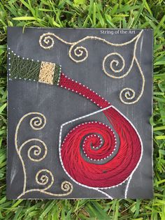 String Art DIY Kit, Red Wine, DIY Crafts, Home Decor, Wine Art, Crafts Kit, Wall Decor w/ String, Nails, Pattern, Painted Board, Instruction