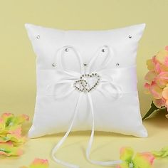 Ring Pillow In Satin With Ribbon And Double Heart Rhinestone – USD $ 5.99