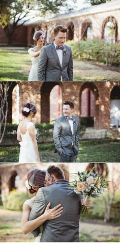 """This """"first look"""" sequence on http://StyleMePretty.com/texas-weddings/2012/04/10/dallas-wedding-at-the-room-on-main-by-sara-rocky/ is adorable! Want to see it in action? Watch the highlight film from their wedding (click on the SMP link above). Happy Tears! Photography by Sara & Rocky http://saraandrocky.com, Cinematography by http://andrewemillerdesign.com"""