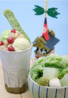 祇園祭の山鉾をイメージした、パフェとかき氷のセットメニュー「都路里のされい」。茶寮都路里祇園本店限定で7月1日から提供開始