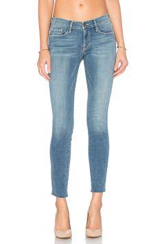 FRAME DENIM Le Skinny De Jeanne Raw Hem Ankle Skinny Jeans Pants Blue 23 $220 #FrameDenim #SlimSkinny