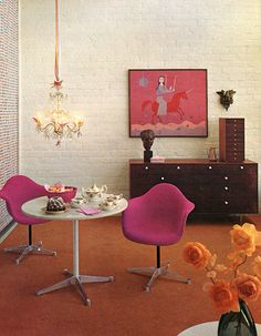 dining room/living room 1962 - look at those pink Eames chairs!