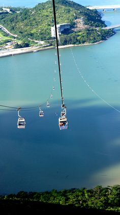Hong Kong cable cars, Lantau Island.Island-hopping through the sky. Got a glass-bottomed car for amazing views.