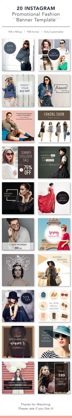 Instagram Promotional Banner Templates - Social Media Web Elements