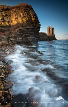 Keiss Castle beside the sea on the Caithness coast, Scotland.