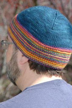 Garter Stripe Beanie by Terhi Montonen. malabrigo Rios in Azul Profundo and Wortsed