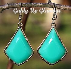 Seafoam Green Diamond Shape Earrings Use Code: GUGREPMARCY for 10% off your ENTIRE order!