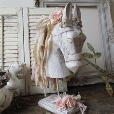 Wooden carved horse head statue bust painted by AnitaSperoDesign