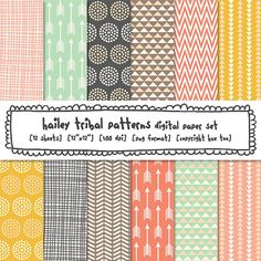 tribal patterns digital paper, girls photography background papers, pink aqua gray mustard triangles arrows dots, instant download 440 on Etsy, $5.00