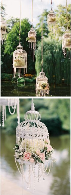 White bird cages, flowers & pearls: So pretty for an outdoor wedding or bridal shower