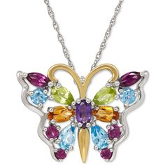 Multi-Gemstone Butterfly Pendant Necklace (2-2/3 ct. t.w.) in Sterling... ($269) ❤ liked on Polyvore featuring jewelry, necklaces, gemstone pendant necklace, sterling silver butterfly necklace, butterfly wing jewelry, gem necklace and sterling silver pendant necklace