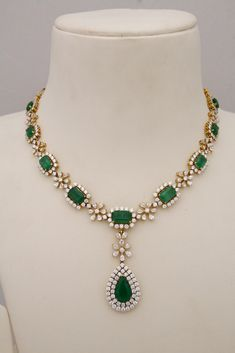 Indian Jewellery and Clothing: Diamond necklace collection from Tibarumals gems . Indian Jewellery and Clothing: Diamond necklace collection from Tibarumals gems and jewellers. Emerald Necklace, Emerald Jewelry, Diamond Pendant Necklace, Diamond Jewelry, Beaded Necklace, Ruby Pendant, Diamond Necklaces, Gold Jewelry, Necklace Set