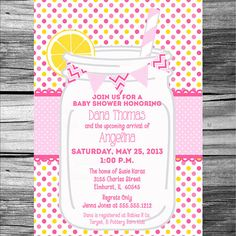 Mason Jar Baby Shower Invitation Girl   PRINTABLE by photodesignz, $10.00