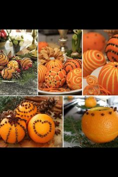 Carved Oranges and Cloves Table Decor - Would be great for fall/Thanksgiving/Christmas! Christmas Crafts, Christmas Decorations, Table Decorations, Christmas Ornaments, Orange Decorations, Orange Centerpieces, Orange Candles, Orange Ornaments, Christmas Ideas
