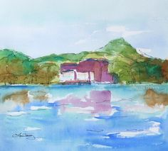 Original Watercolor Painting On the River $65.00
