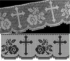 Risultato immagine per crochet altar cloth patterns Filet Crochet, Crochet Lace Edging, Crochet Borders, Crochet Diagram, Thread Crochet, Crochet Doilies, Hand Crochet, Crochet Stitches, Lace Patterns