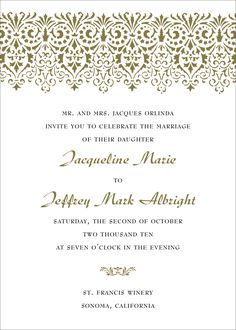 Elegant Wedding Invitations Include A Calligraphy Font For The Wording Of Names On