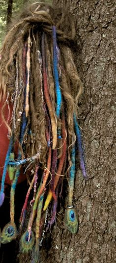 wool felt dreads- If I thought I could stand it I would totally do dreads! These are some awesome dreads & I admire anyone who has them