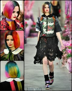 Halloween Hairstyles Rainbow dyed ombre hair