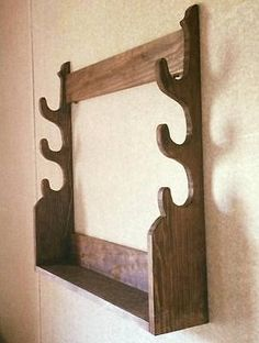 Classic Pine Wall Mount Gun Rack Hangers Rifle By