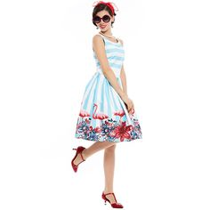 women vintage dress floral print belt decoration summer dress blue white stripe a line elegant lady office dress hot Tag a friend who would love this! Visit us