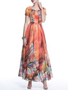 Red A-line V Neck Casual Floral Maxi Dress