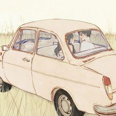 결국엔(At last) by 살구 on Grafolio Couple Illustration, Illustration Art, Couple Cartoon, Cartoon Art Styles, Couple Art, Aesthetic Girl, Japanese Art, Anime Couples, Vintage Art