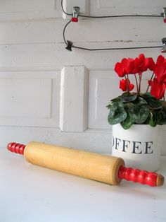 Vintage Red Handled Rolling Pin.