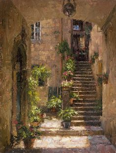 Stairway Home Italy by Todd A Williams who is conducting a painting workshop Oct 8, 9 and 10 in connection with the opening of the Best of America 2014 Check the details at: http://noapsblog.com/2014/06/02/dont-miss-this-painting-workshop/
