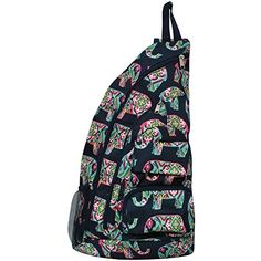 a5e046684c Aqua Chevron with Owl Print NGIL Sling Backpack