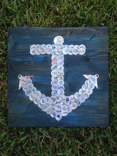 "Beer/Bottle Cap Anchor, 16"" x 16"", Signed Original, Ready to Hang! ""Anchors Aweigh"""