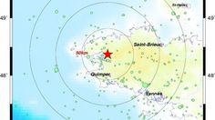 Bretagne - Un tremblement de terre a été ressenti vendredi 30 octobre 2015 à 9h55 à Brest et alentours. Ce séisme d'une magnitude de 3,4 a son épicentre entre Hanvec et Loperhet.
