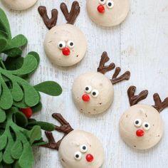 Chocolate peppermint reindeer meringue cookies for Christmas