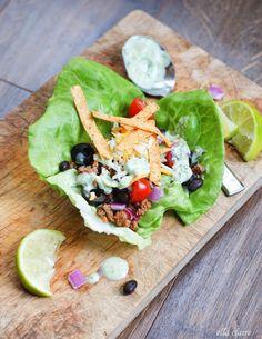 {Ella Claire}: Taco Salad Lettuce Wraps | Avocado Ranch Dressing (minus beans for low carb)