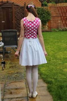 This dress took a while, in fact I'm pretty sure I've never spent so long making anything, ever! The bodice was inspired by a woven . Pretty Cool, How To Look Pretty, Fabric Strips, Woven Fabric, White Tights, Stripped Dress, Pink Polka Dots, Princess Seam, White Skirts