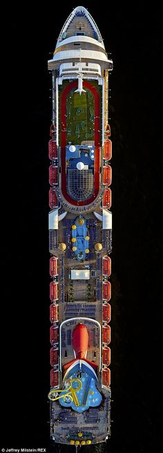 The Carnival Sensation cruise ship from above.